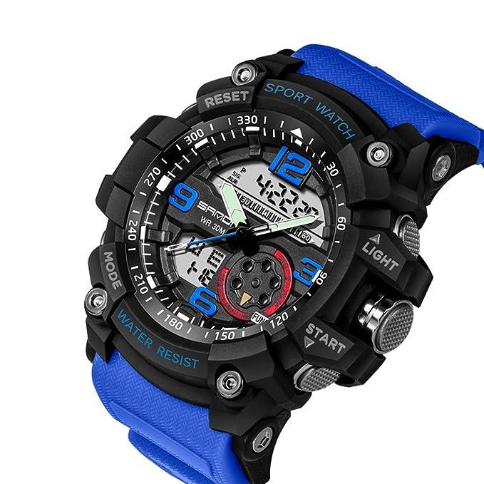Reloj de Pulsera SANDA Hombres Reloj Impermeable Hasta 30m Militar Analógico Digital Cuarzo Deporte (Negro+Azul): Amazon.es: Relojes