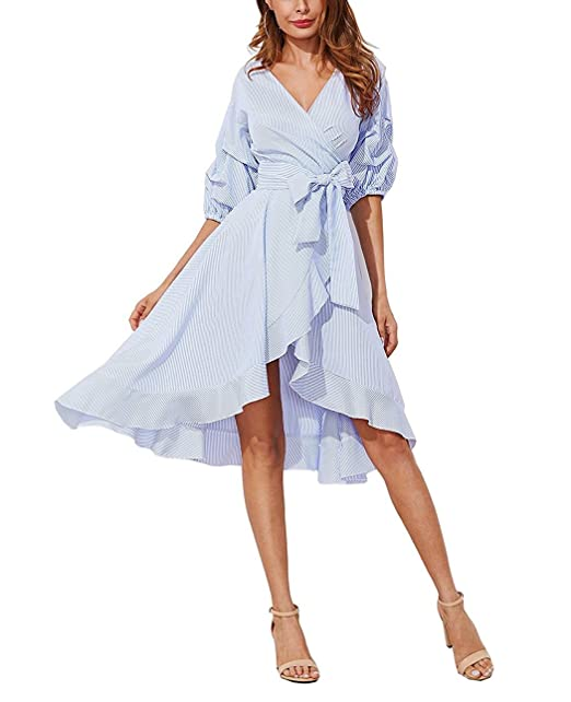Vestido de mujer, Lananas 2018 Primavera Verano Cuello en V Falbala Raya Cinturón Bowknot Irregular Una pieza Vestir: Amazon.es: Ropa y accesorios