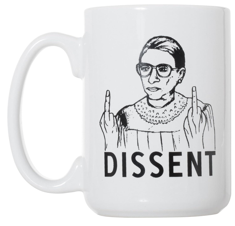 RBG Dissent Mug - Ruth Bader Ginsburg Mug 15 oz Deluxe Large Double-Sided Mug Artisan Owl
