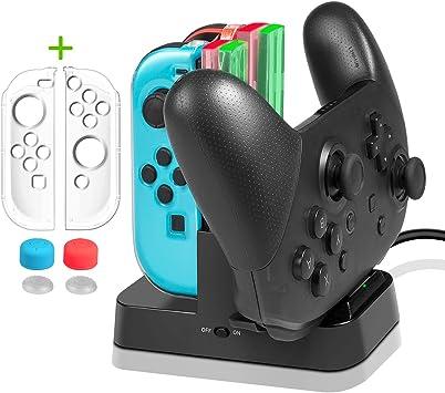 Cargador para Nintendo Switch Mandos- Younik dock de carga y base con indicador para control pro y joy-con: Amazon.es: Electrónica