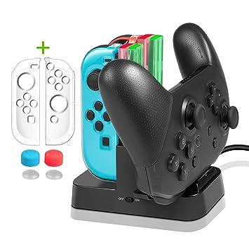 Cargador para Nintendo Switch Mandos- Younik dock de carga y base con indicador para control pro y joy-con