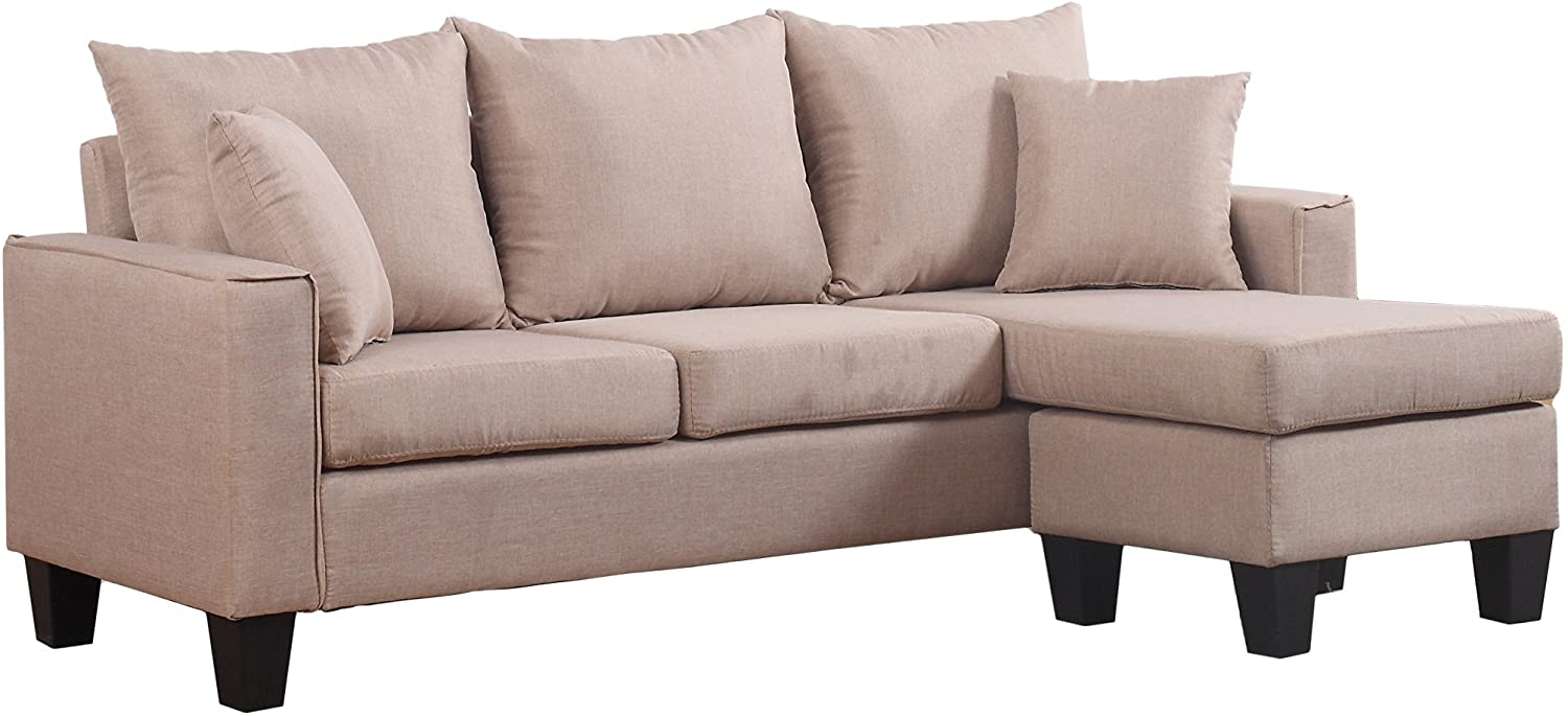 Divano Roma Furniture Modern Linen Fabric Small Space Sectional Sofa with Reversible Chaise (Apricot)