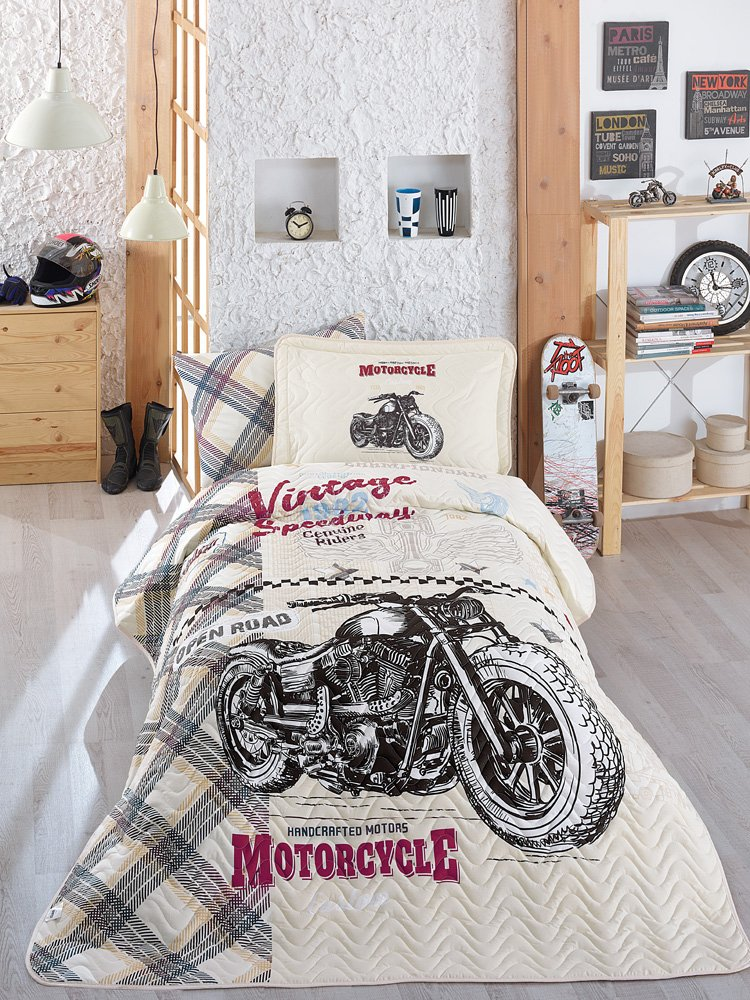 Bekata Speedway, 100% Cotton Bed Cover Set, Single/Twin Size Bedspread/Quilt Set for All Season, Vintage Motorcycle Bedding Linens, Fitted Sheet Included, 4 PCS, Beige