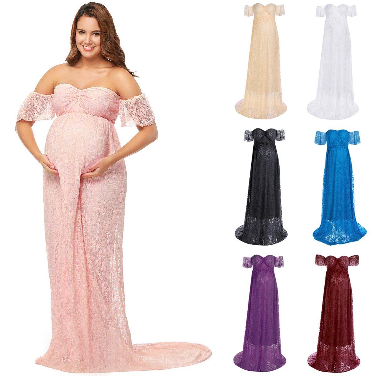 c3769ed1c IWEMEK Vestido de Maternidad Mujer Fiesta Largos Boda Mujer Embarazada  Encaje Floral Foto Shoot Vestidos Faldas Ampliar imagen