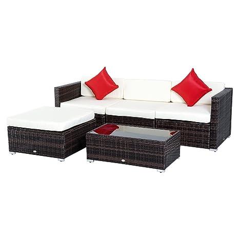 Outsunny Salon de Jardin 4 pers. Grand Confort modulable + ...