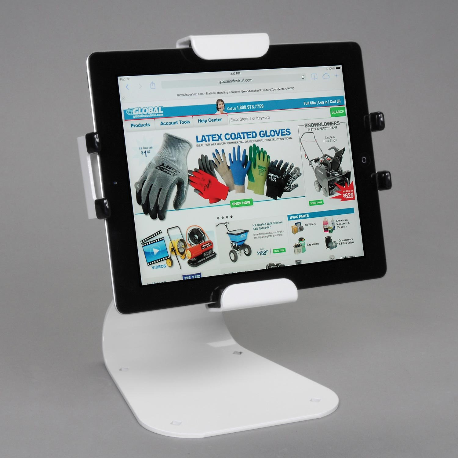 Universal Desktop Tablet Mount With Theft Resistant Hardware, White