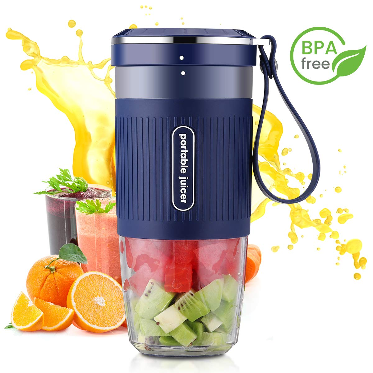 Portable Blender Mini Personal Blender, Godmorn Juicer Smoothie Blender Smoothie Maker Cordless Small Juicer Cup Mixer, USB Rechargeable BPA Free,10oz 300ml, Home Outdoor Travel Office, Blue