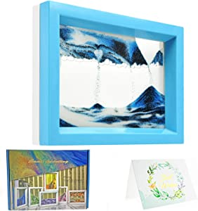 Dynamic Sand Art Picture Ocean Heart, Moving Sand Picture Art for Autistic Kid, Desktop Art Decor Toys, Sand Sculptures in Motion Office Relax Toys to Keep You Calm! (7.3 x 5.7 inch - Blue)
