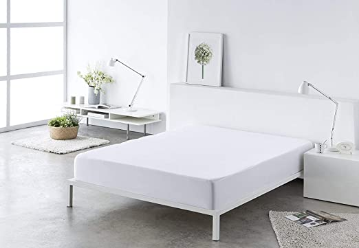 Blanco 150) Sabana bajera ajustable, elástica 100% algodón de ...