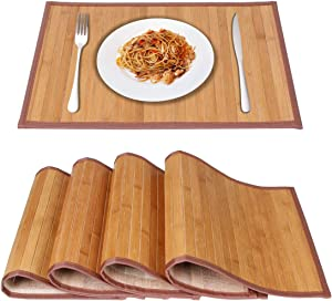 MARSCOOL Bamboo Placemats for Kitchen Table, Placemats Set of 4,Stain-Resistant,Heat-Resistant Place Mats,Table Place Mats Dining Place Mats for Dining Table(Original)