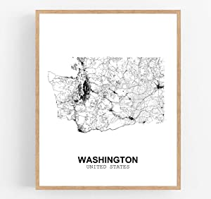 Eleville 11X14 Unframed Washington United States Country View Abstract Road Modern Map Art Print Poster Wall Office Home Decor Minimalist Line Art Hometown Housewarming wgn203