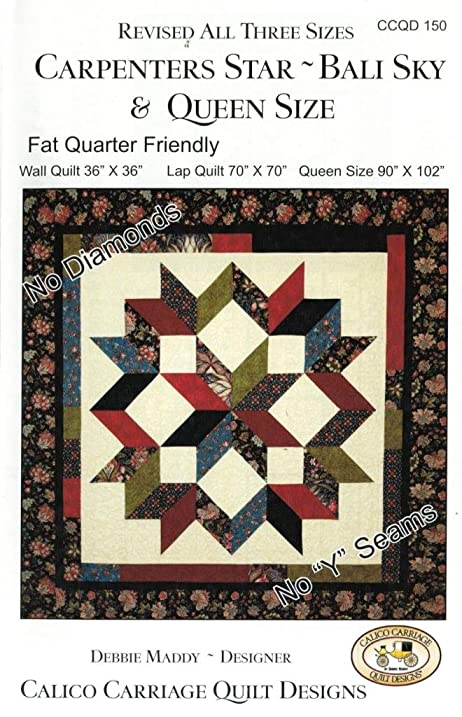 Amazon.com: Carpenter's Star-Bali Sky Quilt Pattern, Fat Quarter ... : carpenters quilt pattern - Adamdwight.com