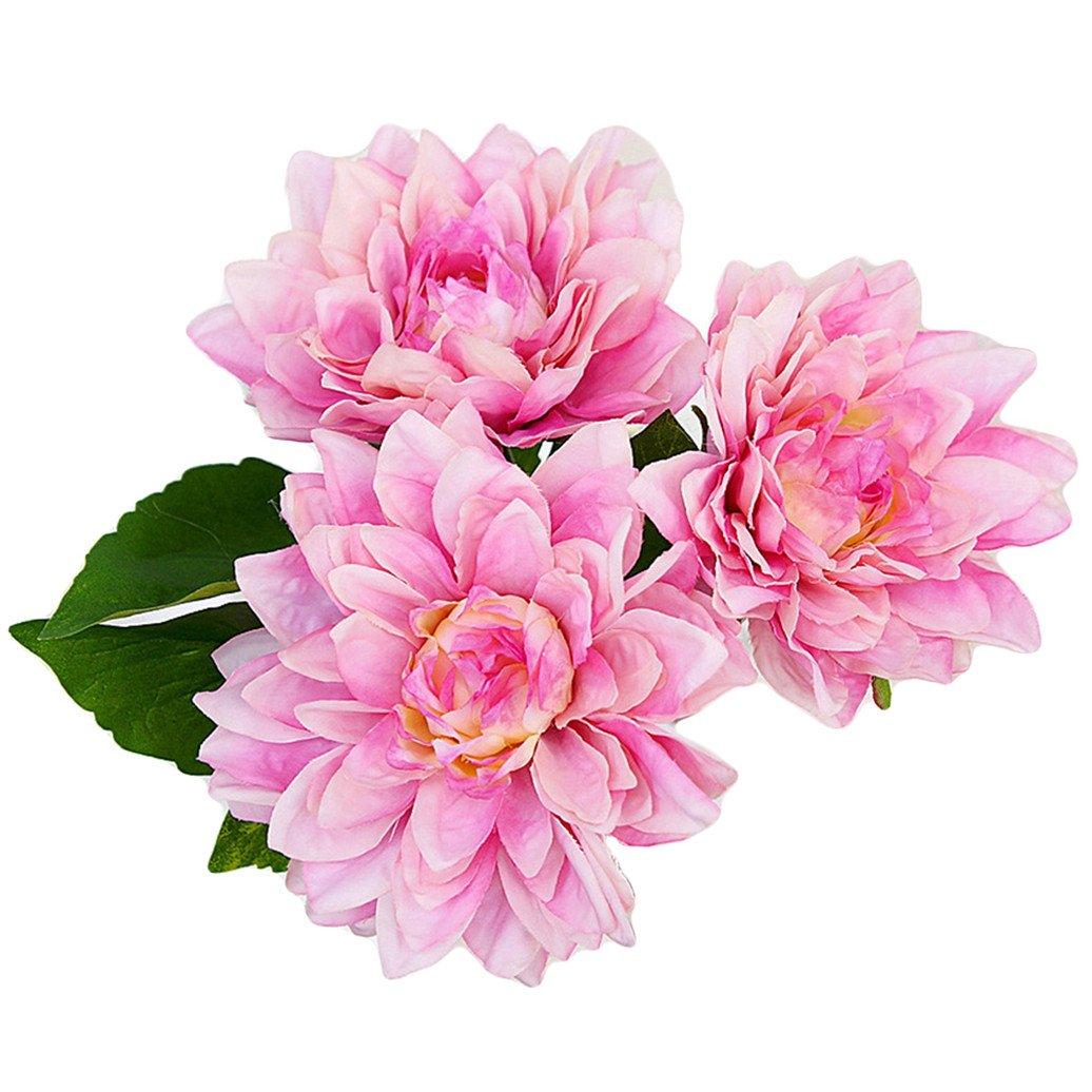 Yellow display08 1 Bouquet 3 Pcs Caroline Dahlia Artificial Flowers Home Room Wedding Decor