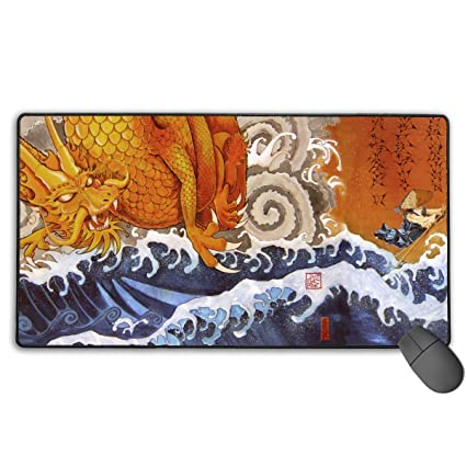 8fe79caa6dc0e SKRMOU Japanese Mountain Sea Gold Dragon Gaming Mouse Pad,Extended Large Mouse  Mat Desk Pad