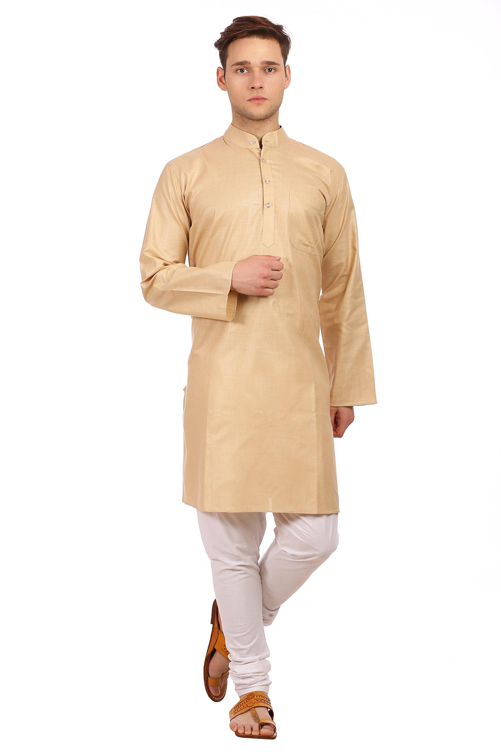 WINTAGE Men's Cotton Silk Festive and Casual Khaki Kurta Pyjama