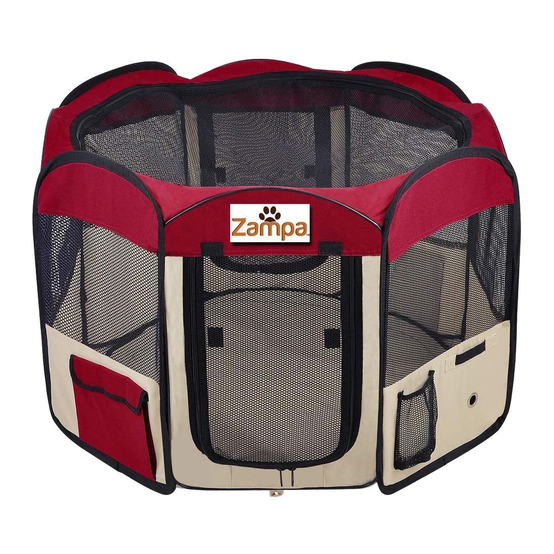 Zampa Portable Foldable Pet playpen Exercise Pen Kennel + Carrying Case For Larges Dogs Small Puppies /Cats | Indoor / Outdoor Use | Water resistant by Zampa