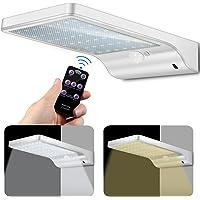 Lampes Solaires 48 LED avec Télécommande, ECHTPower Lampe Solaire Jardin Extérieur 7 Températures de Couleur Ajustables du Blanc Froid au Blanc Chaud, Lumière Mural Étanche à Détecteur de Mouvement