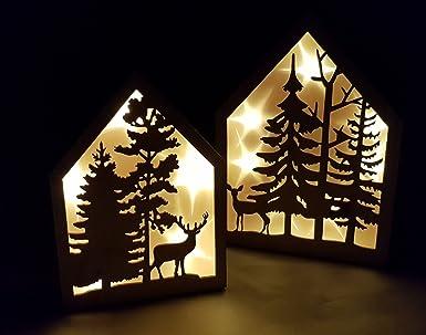 Weihnachtsdeko Beleuchtet.Led Deko Haus 2er Set Echt Holz Weihnachtsdeko Fensterdekoration Beleuchtet