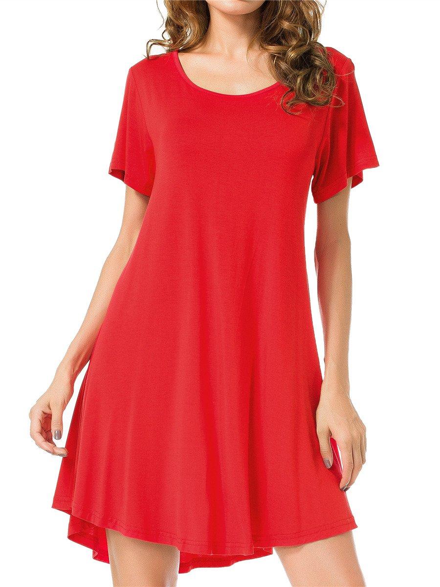 JollieLovin Women's Tunic Top Casual Short Sleeve Swing Loose T-Shirt Dress (Red, L)