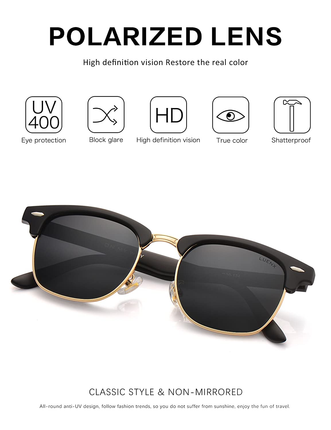 0172f5e8ab9 Mens Clubmaster Sunglasses Polarized Womens  UV 400 Protection 51MMby LUENX  with Case  Amazon.ca  Sports   Outdoors