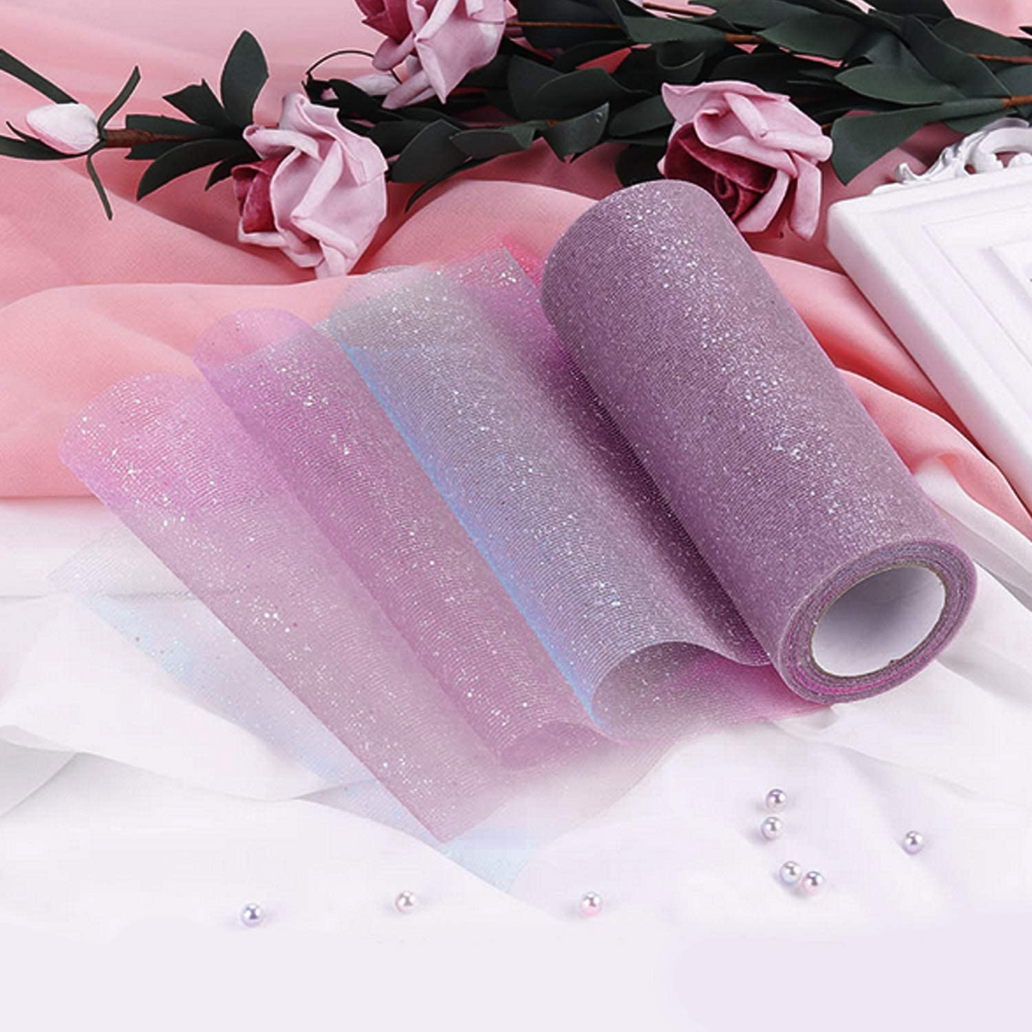 Dark Color 10 Yards Rainbow Gradient Glitter Tulle Roll Fabric Ribbon for Wedding Party Decoration Tutu Skirt Bowknot Christmas Gift Wrapping Light Color
