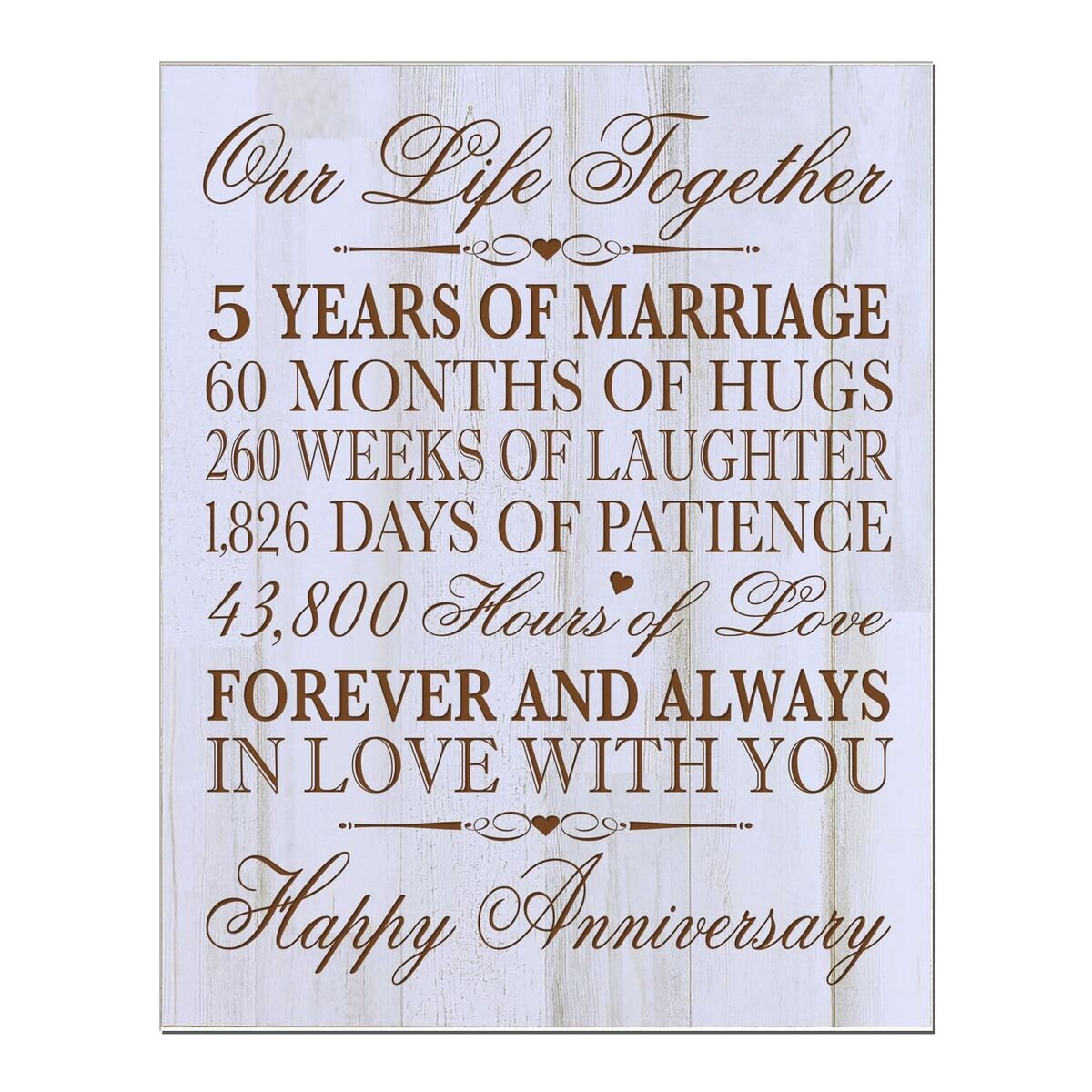LifeSong Milestones 5th Wedding Anniversary Wall Plaque Gifts for Couple, 5th for Her,5th Wedding for Him 12 W X 15'' H Wall Plaque (Distressed Wood) by LifeSong Milestones