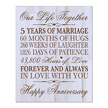 Amazon.com - 5th Wedding Anniversary Wall Plaque Gifts for Couple ...