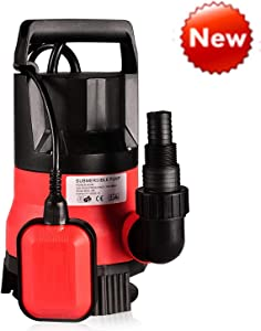 Sump Pump 1/2HP Clean Dirty Water Submersible Pump 400W Pump for Swimming Pool Drain (Red)