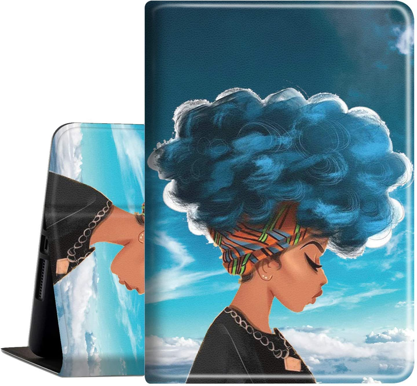 iPad 10.2 Case 8th/7th Generation (2020/2019 Release) Slim PU Leather Shockproof with Auto Wake Sleep Feature Folio Cover for Apple New iPad 8th /7th Gen 10.2 Inch, African Girl