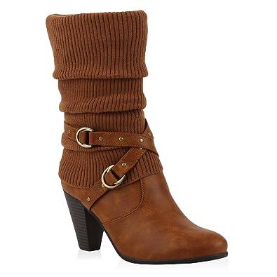 Damen Stiefel Stulpen Stiefeletten High Heel Boots Schuhe 110719 Hellbraun  36 Flandell