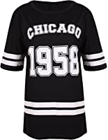 Purple Hanger - T-Shirt Femme Chicago 1958 Style Fac Américaine Manche Courte Encolure Arronde Long Baseball Surdimensionné Grande Taille