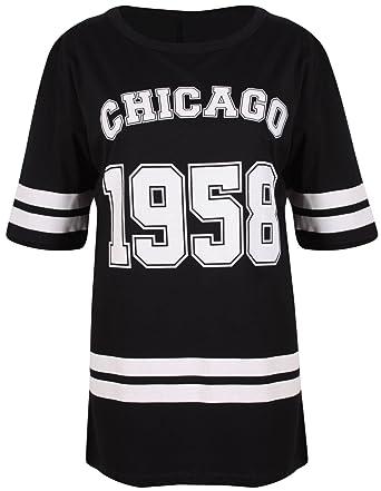 best sale newest collection cost charm Purple Hanger - T-Shirt Femme Chicago 1958 Style Fac Américaine Manche  Courte Encolure Arronde Long Baseball Surdimensionné Grande Taille