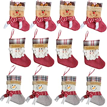 Forze Christmas 3d Decorative Socks Candy Gift Bag Santa Snowman Reindeer Gift Card Silverware Holders 12 Pieces Mini Christmas Stockings Xmas Tree