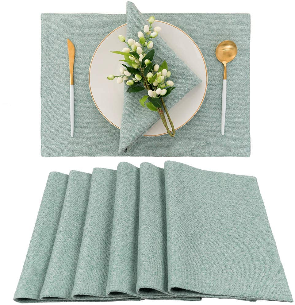 Spring Garden Home Summer Decorative Rustic Linen Placemats Cloth Washable Durable Place Mats for Kids/Dining Table, Set of 6 in Teal Blue