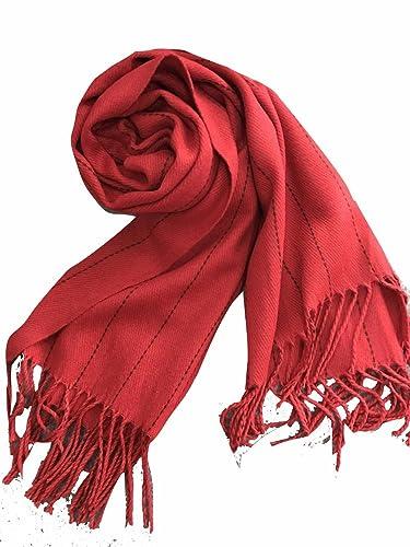 yall Señoras Bufandas Borlas Stripes Invierno Y Cálido Invierno Chales, Red 195X65Cm