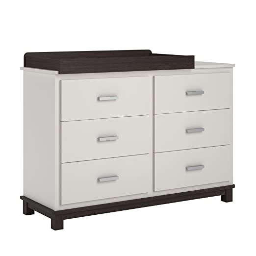 Cosco Kids Furniture Leni 6 Drawer Dresser with Changing Table, White and Coffee House Plank