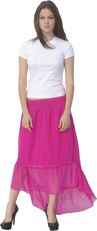 Deep Blue Womens Fuchsia Solid Color Ruffle Hi-Low Hem Cover-Up Skirt S-XL