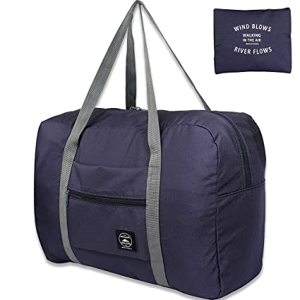Amazon.com   Unova Folding Travel Duffel Bag Packable Light Nylon Water  Resistant Tote Weekend Getaway Overnight Carry-on Shoulder (Navy Blue)    Sports ... 7d70462932