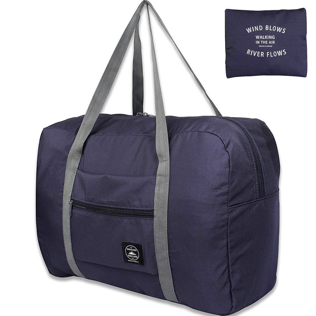 Unova Travel Duffel Bag Packable Light Nylon Water Resistant Gym Tote Weekend Overnight Carry-on Shoulder Bag (Nvay Blue)