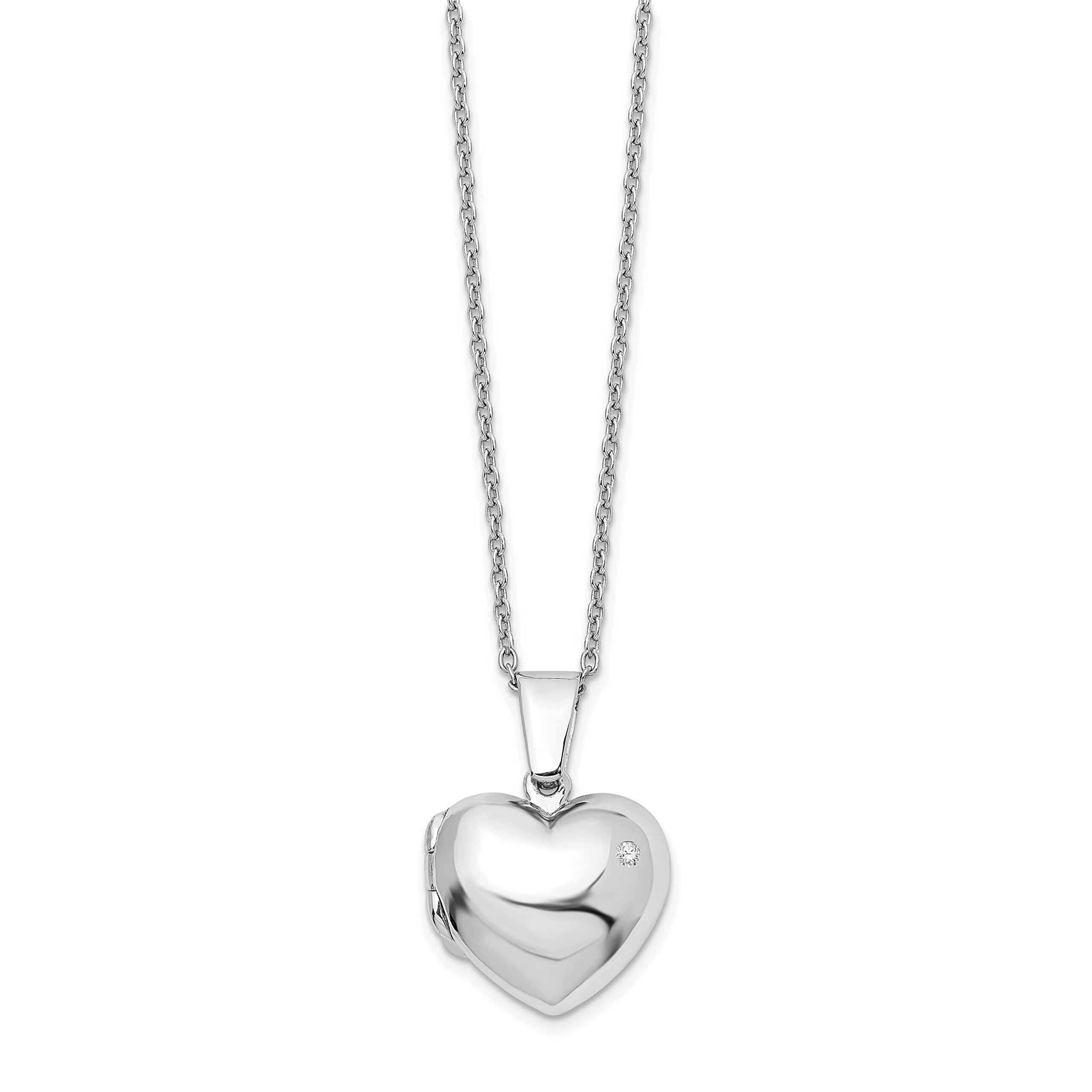 ICE CARATS 925 Sterling Silver Diamond Heart Locket Pendant Chain Necklace Fine Jewelry Gift Set For Women Heart