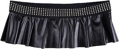 Freebily Falda Cuero Negra Sexy para Mujer Falda Plisada Abierta ...