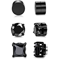 Sailimue 3 Pairs Stainless Steel Magnetic Stud Earring for Men Women Girls Non Piercing Clip on CZ Earrings Black 6-8MM
