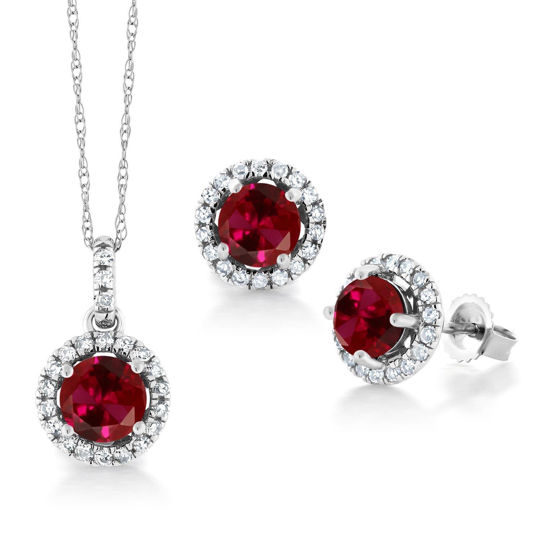Gem Stone King 2.20 Ct Round Red Created Ruby White Diamond 14K White Gold Pendant Earrings Set