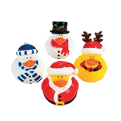 Holiday Christmas Rubber Duckies (Pack of 12): Toys & Games