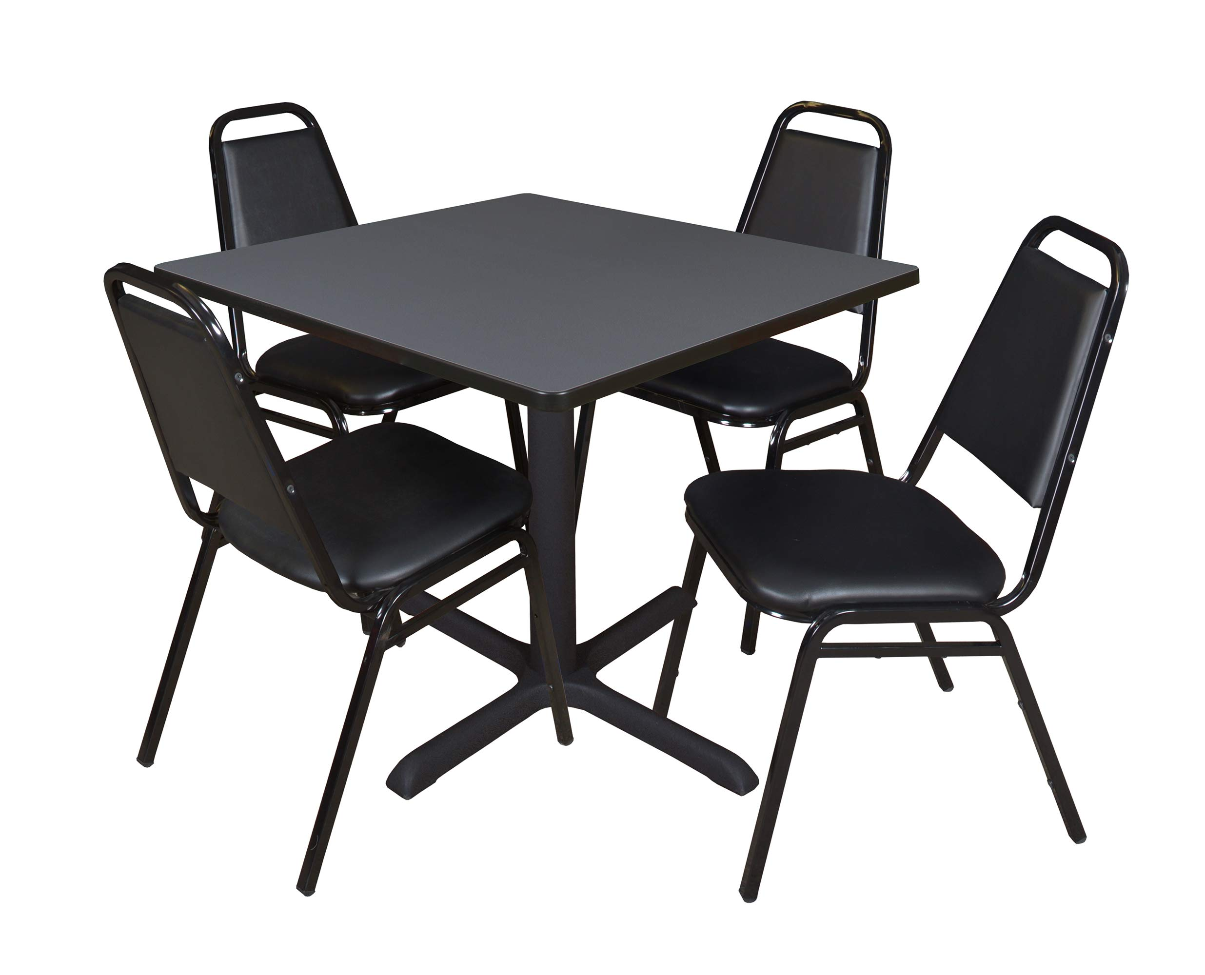 Cain 42'' Square Breakroom Table- Grey & 4 Restaurant Stack Chairs- Black by Regency Seating