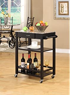Amazon.c - Red Cocoa Modern Kitchen Cart Island Marble Faux Top -