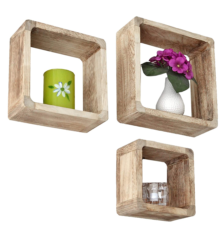 estilo r/ústico para casa de campo ts-ideen Lounge Cube Conjunto de 3 cubos para uso como estanter/ía estanter/ía de pared de madera maciza en marr/ón claro