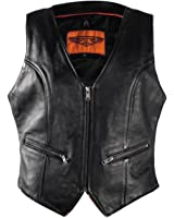 Womens Naked Leather Motorcycle Vest With Gun Pockets Zip Front