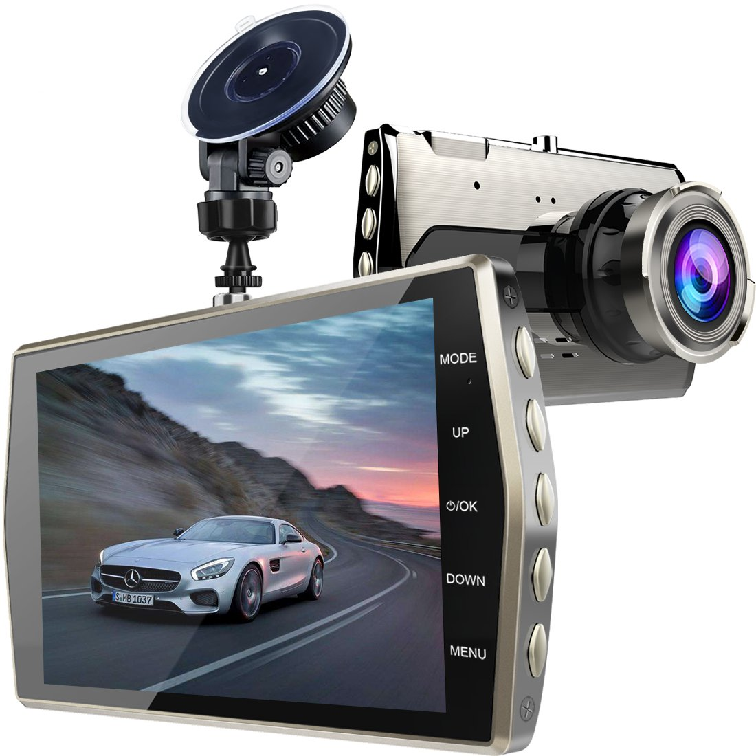 Dash Cam, Zintou 4'' LCD Dash Camera FHD 1080P, 170 Degree Wide Angle Dashboard Camera Recorder with G-Sensor, Loop Recording and NightHawk Vision,SD Card Not Included