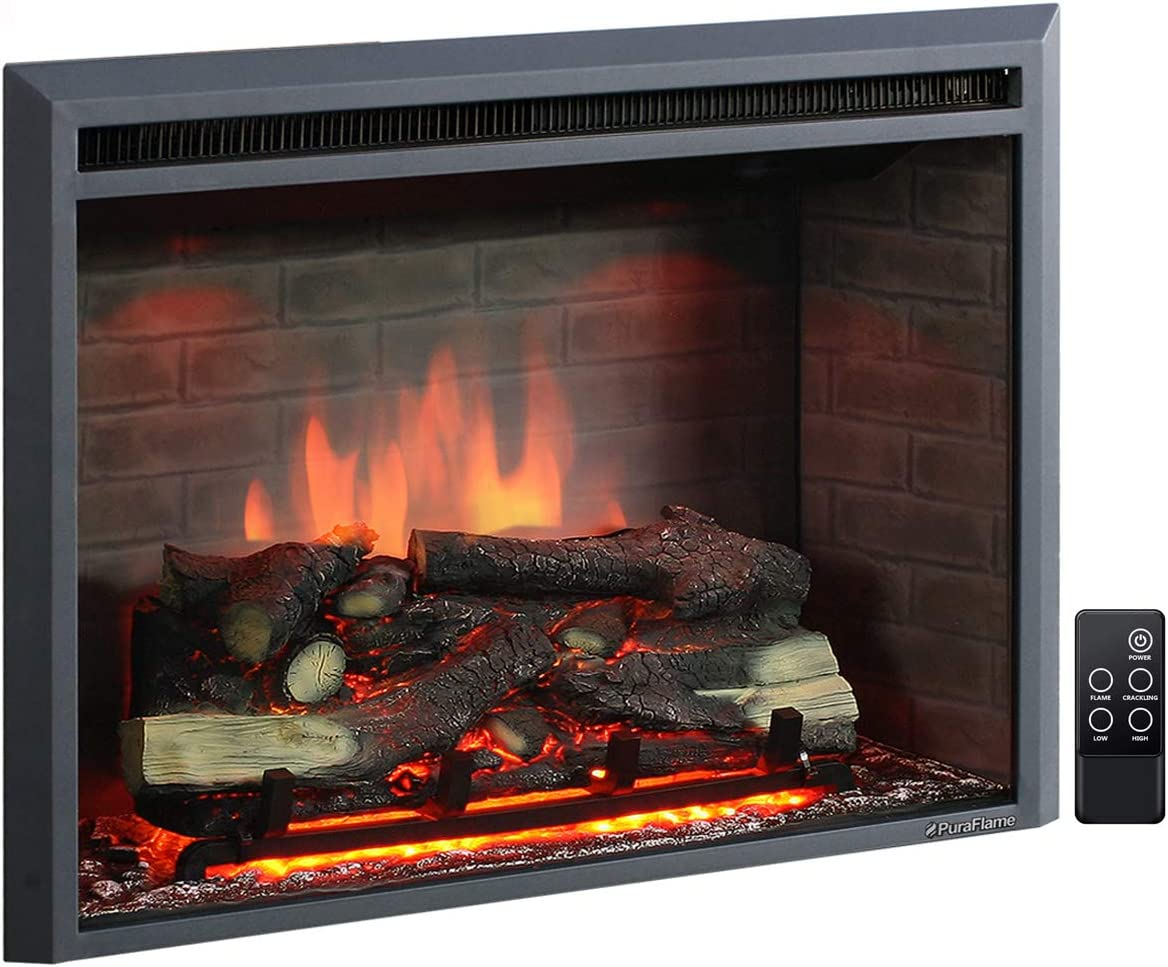 Puraflame 33 Inches Western Electric Fireplace Insert With Remote Control 750 1500w Black Amazon Ca Home Kitchen